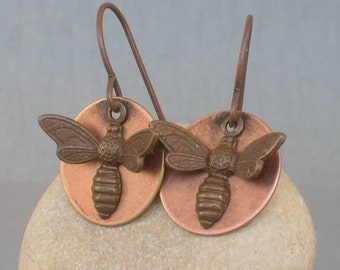 little honeybee ... earrings with antique copper bee charms ... ONE DOLLAR shipping