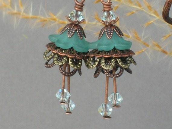 PAULETTA ... Vintage Style Earrings ... With Teal Flower Beads and Crystal ... FREE SHIPPING