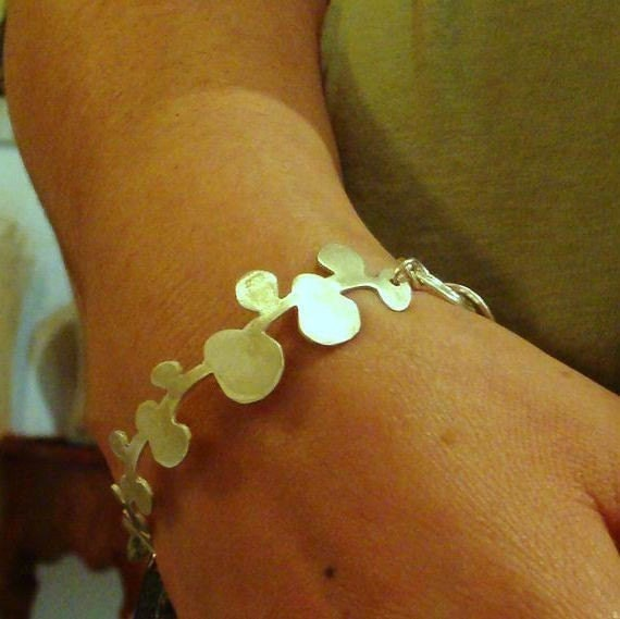 matte  silver  large willow branch bracelet