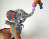 Needle felted Animal.  Needle felted Elephant Juggling his  Felt Balls Reserved for Sandrine Lalouer