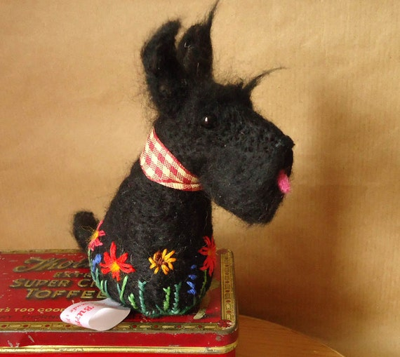 Needle felted Scottie Pincushion