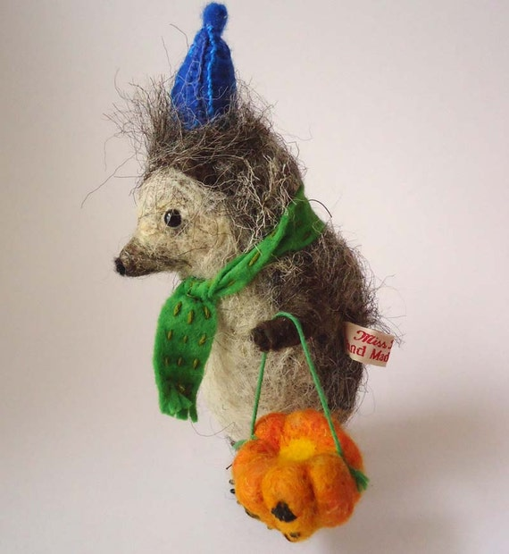 Hand Made British Wool, Needle felted Halloween trick or treat Hedgehog with Pumpkin
