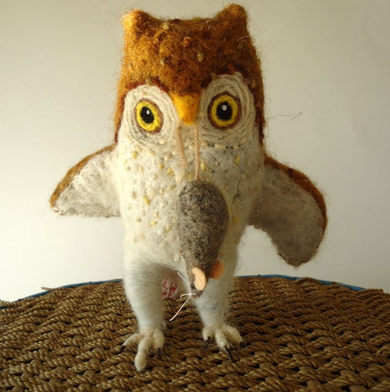 Needle Felted Little Brown Owl with Mouse Dinner  By Miss Bumbles