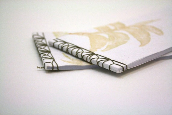 Set of Two Asian Stitched Notebooks with Leaf Print