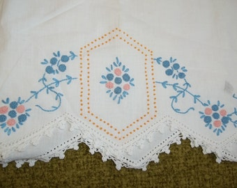 Blue and pink beautiful vintage pillowcase