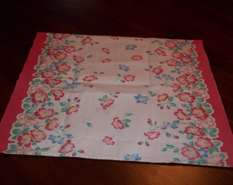 Perfect vintage Pansy flower towel or runner