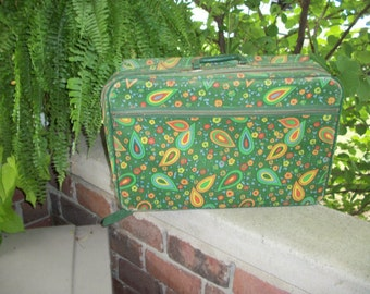 Vintage paisley green suitcase