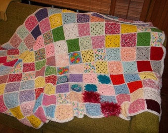 Vintage Hand Made Crocheted Granny Square Afghan - Throw - Lap Blanket