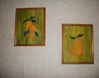 Vintage Pair of Pear paintings by Laurie