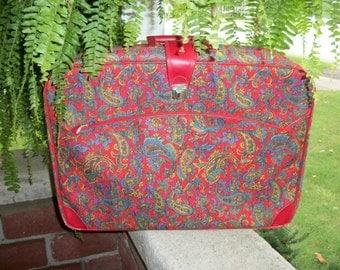 Vintage red paisley weekender suitcase