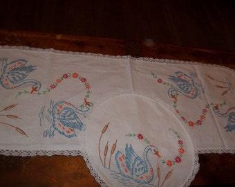 Beautiful vintage swan and cattail dresser scarfs