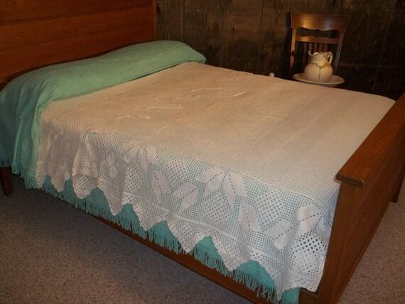 Cream Vintage Crochet Full/Queen  Butterfly Bedspread Coverlet now 95
