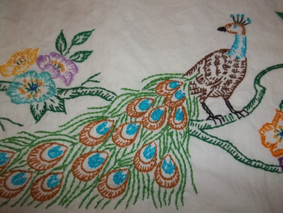 Vintage Peacock Pillowcase Embroidered and Crocheted