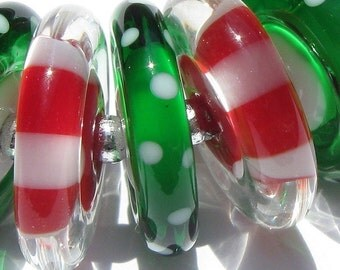 Holiday Cheer Discs (12) Lampwork Beads -SRA
