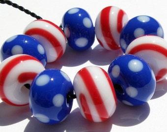 July 4th Minis (10) Lampwork Beads- SRA