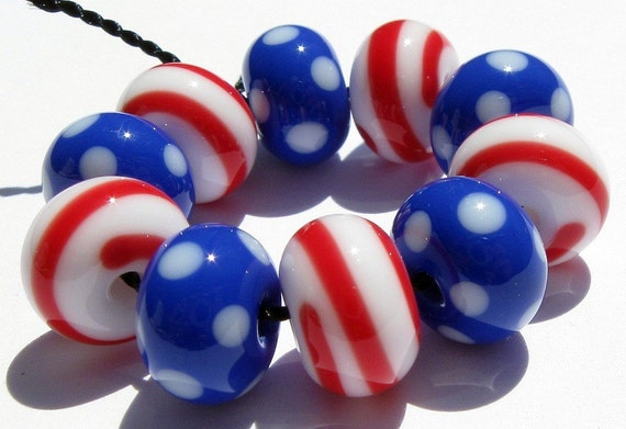 USA 2012 Election Minis (10) Lampwork Beads- SRA