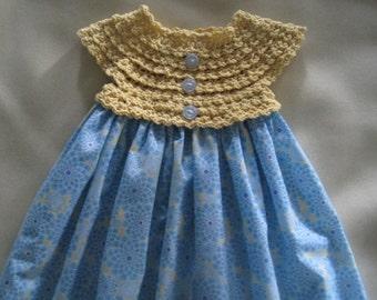 Crochet and Fabric.  Baby Dress. Crochet Bodice Dress.  Blue and Yellow Dress.  Fabric Baby Dress.  Cotton Print Dress.  Girls Sun Dress.