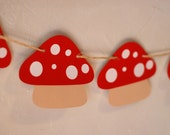 Mushroom Banner - choose your colors!  Perfect addition to your Fairy, Woodland, Gnome, or Garden Birthday Party and Baby Shower