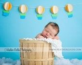 Up Up and Away - 3D Hot Air Balloon Banner - baby shower, birthday party, newborn photo prop, nursery decor - custom colors available