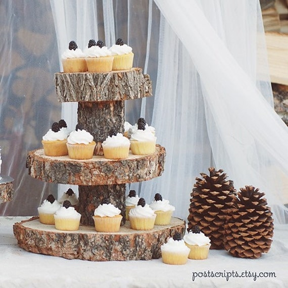 Rustic Wood Tree Slice 3 Tier Cake And Cupcake Stand For Your