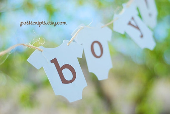 It's A Boy - Blue and Brown Onesie Clothesline Banner perfect for baby shower, party, or maternity photo prop