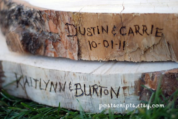 WOODBURNING / ENGRAVING ONLY for your Rustic Wood Tree Slice Wedding Cake Base or Cupcake Stand - Heart and Arrow or Monogram Available
