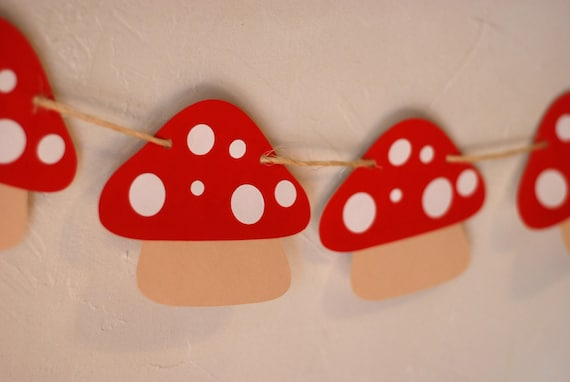 Mushroom Banner - Perfect addition to your Fairy, Woodland, Gnome, or Garden Birthday Party and Baby Shower