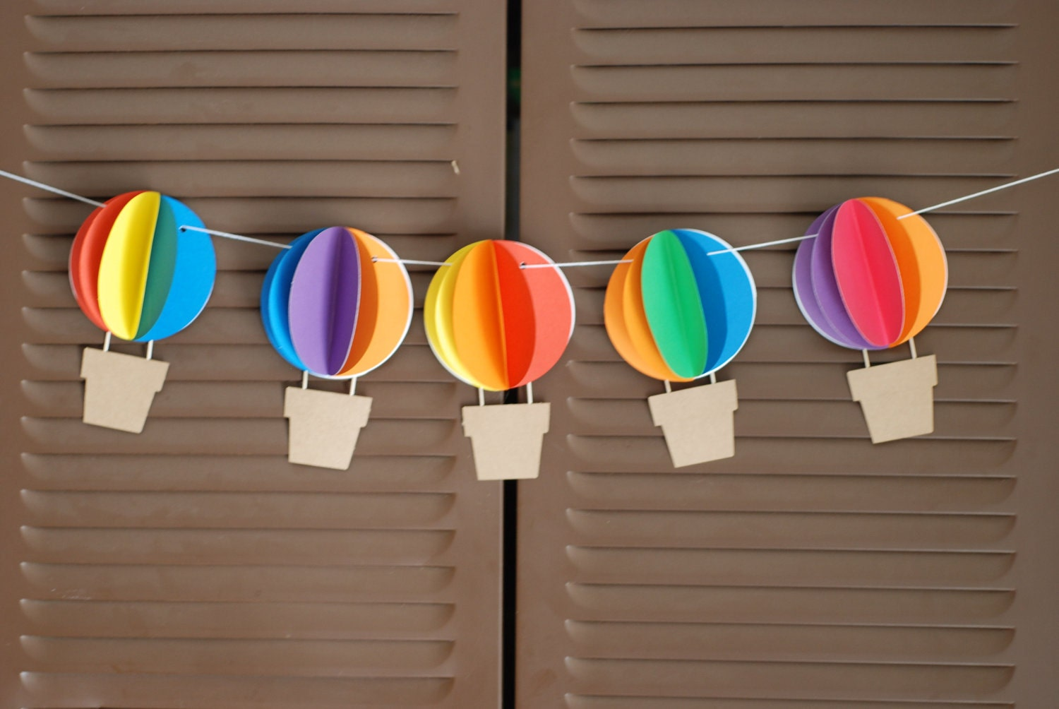 3d hot air balloon banner up up and away rainbow by for Balloon banner decoration