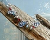 TN Titans NFL Team Logo Silver Charm Bracelet