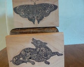 Rubber Stamps - dog and butterfly