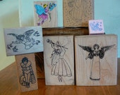 Rubber Stamps - fairies and french clown