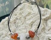 Snow Quartz and Agate Leather Bracelet