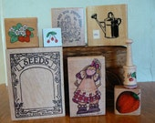 Rubber Stamps - 8 Garden Themed Stamps Seeds water can strawberry