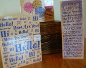 Rubber Stamps - 3 large Word Stamps