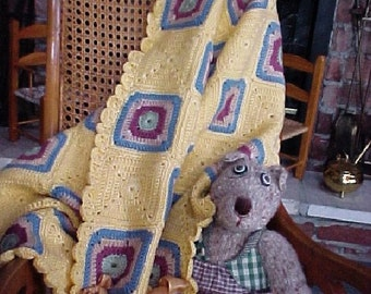 Baby Blanket,Pram Coverlet, Lap Throw,TableTopper, Granny Squares