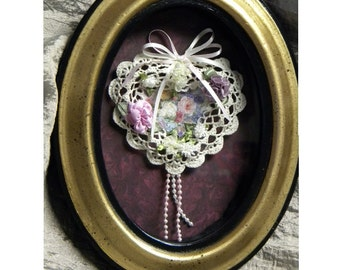 Victorian Hearts and Flowers Shadow Box Under Glass