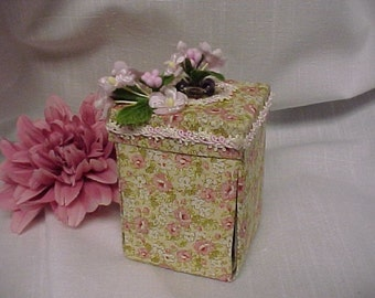 Tulip Box with Peridot and Pink Crystal Earrings In a Special Gift Box