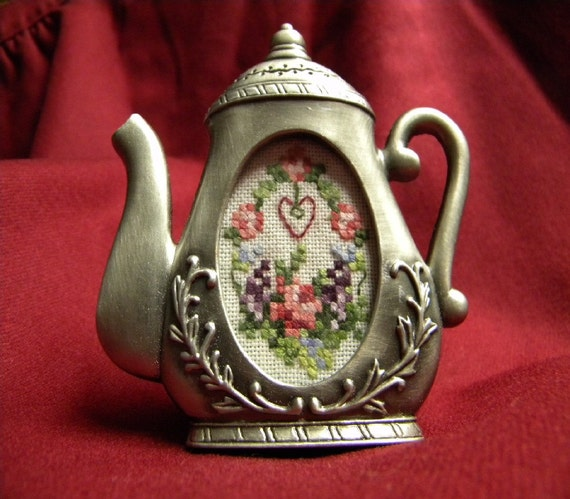 Miniature Floral Petit point Framed in Tiny Pewter Teapot