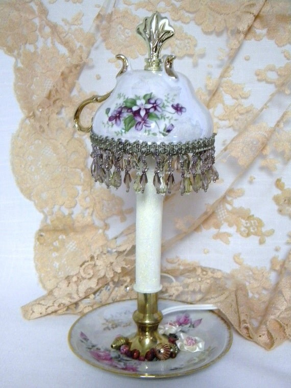 Victorian Teacup Lamp of fine china