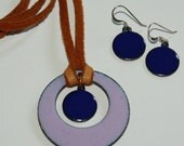 Enamel Necklace, Copper Pendants, Pink, Blue, Turquoise Enamels, Organic