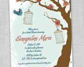 Birdcage and Bluejay Bridal Shower Invitation (Set of 12)