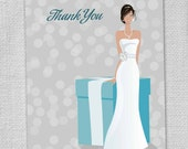 Gift Box & Bride Thank You Cards (Set of 8)