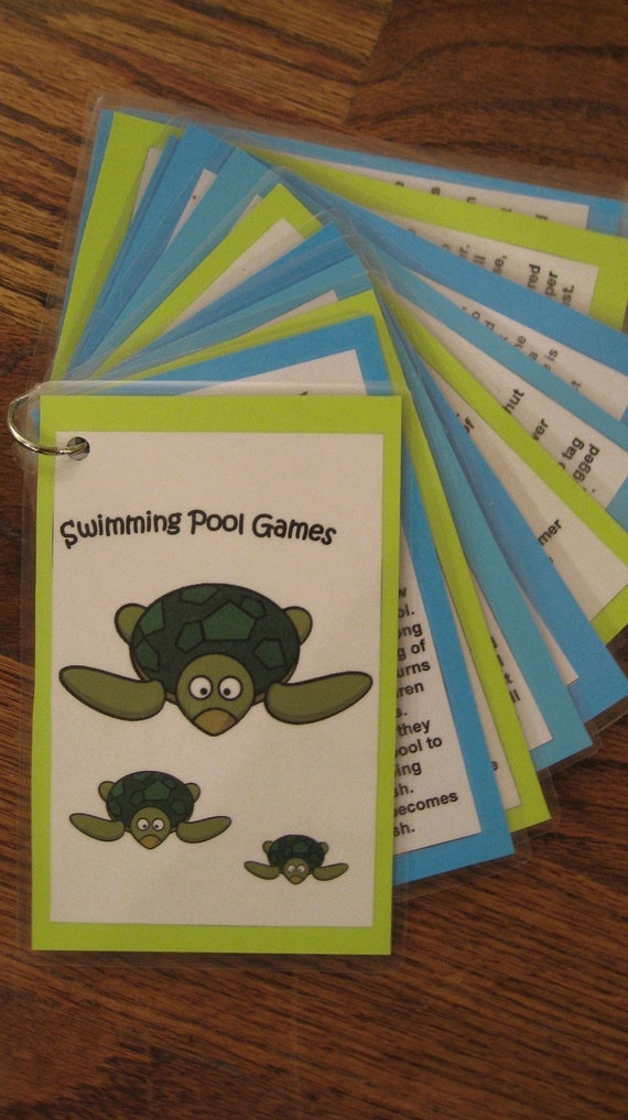 Swimming Pool Games-Twelve Laminated Cards on a Ring