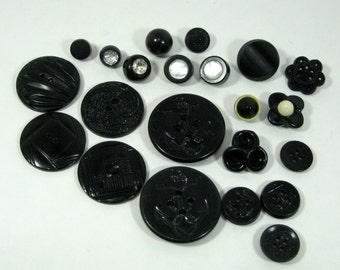 Vintage Black Buttons Art Deco Mod Nautical Antique Buttons Variety MIx art parts,mixed media,anchor,textured,