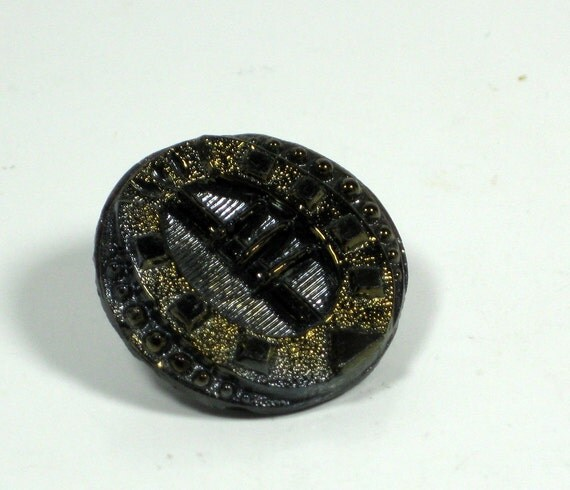 Victorian Black Glass Buckle Button with Gold Gild