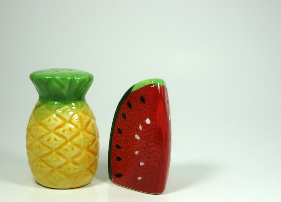 Tropical Pineapple or Watermelon Salt and Pepper Shakers