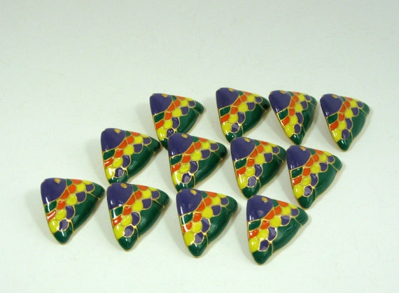 Colorful Rainbow Fish Buttons Solid metal buttons with an enamel coat