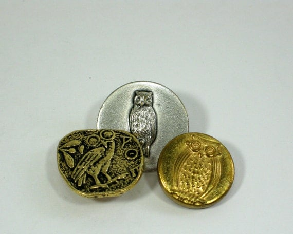 Collectible Owl Buttons ,Give a Hoot, Woodland
