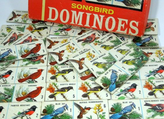 Vintage Songbird Dominoes in Original Box with Instructions - Altered Art Parts or Collage