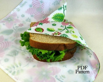 SandwichSleeve (Instant Download) PDF Pattern- make it TODAY- aGreenSleeve, Sandwich Wrap, Deli Wrap, Fat-Quarter Friendly